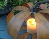 Pumpkin Candle Holder, Halloween, Thanksgiving Centerpiece, Fall centerpiece, Metal Pumpkin solar light holder, Mason jar light holder