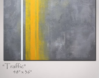 Yellow and Gray Abstract Art, Large 48x36, Shipping included - Abstract Painting Original Abstract Art