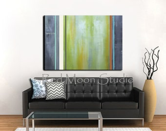 Abstract Art, Green Abstract Painting, XLarge 48x36, Gray Grey and Green Original Painting