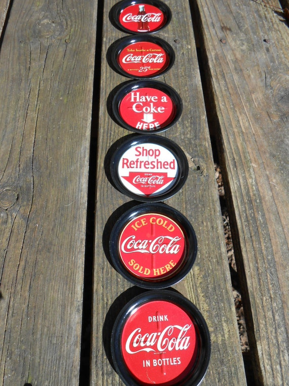 Vintage Coca Cola Coaster Set Made Out Of Tin By Earthenology