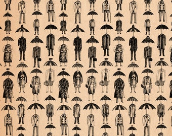 The English Temperament- Umbrellaheads A4 art print by Jon Turner- surreal pen and ink artwork- FREE WORLDWIDE SHIPPING