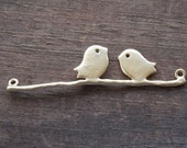 4 Gold Plated Birds on Branch Connectors 4.4cm 1.7 inches