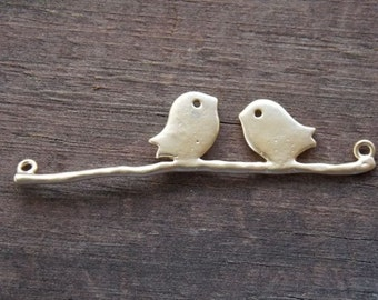 2 Gold Plated Birds on Branch Connectors 4.4cm 1.7 inches
