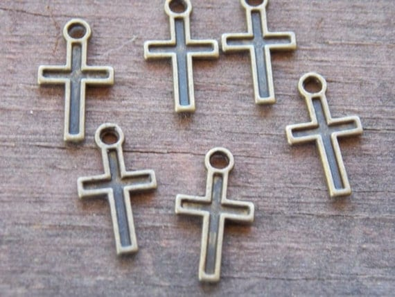 15 Antiqued Bronze Cross Charms 15mm