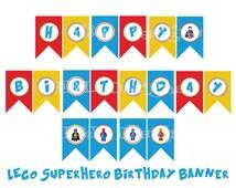 Superhero Birthday Banner,Birthday Party, Instant Download, Printable