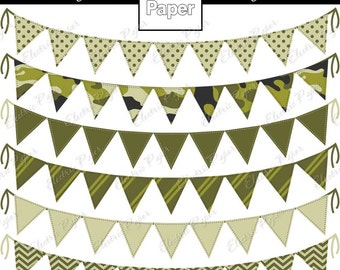 Camo Bunting Banner - Green Camouflage Triangle Banners - Coordinate with Green Camo Paper Pack -Instant download