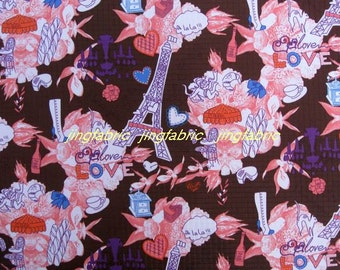 "W251A  - Vinyl Waterproof Fabric - Tower flower - Chocolate  - 27""x19""(70cmX50cm)"