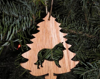 Collie Dog Christmas Tree Ornament , Scroll Saw Treasure , Oak   Ornament, Real wood Ornament, Dog lover Gift, Scroll saw art