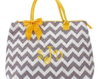 Personalized Chevron Large Tote Bag Gray & White with Yellow Trim Quilted Overnight Bag Monogrammed FREE