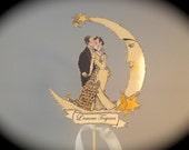 Moon Wedding Cake Topper -Silver Glitter - Great Gatsby -  Brides Magazine