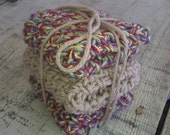 Crocheted Dish Cloths -  3 small/ medium and double thick,  100% cotton, unbleached cotton with natural toned flecks