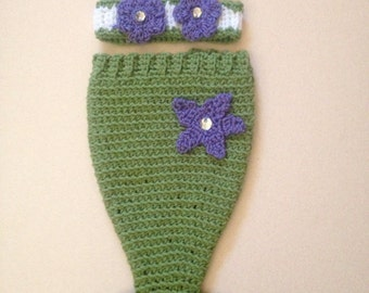 Crochet Infant Mermaid Outfit in Lavender, White, Green 0-9 Months