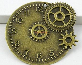 6Pcs Antique Brass Clock Charm Clock Pendant 46x43mm (PND549)