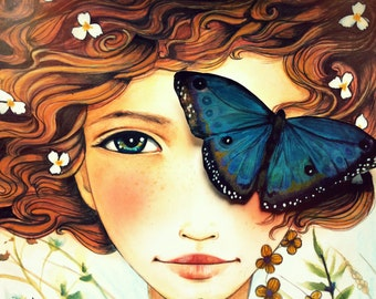 girl with  blue morpho butterfly