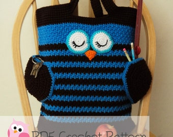 Owl Tote Bag: Crochet Pattern Digital Download