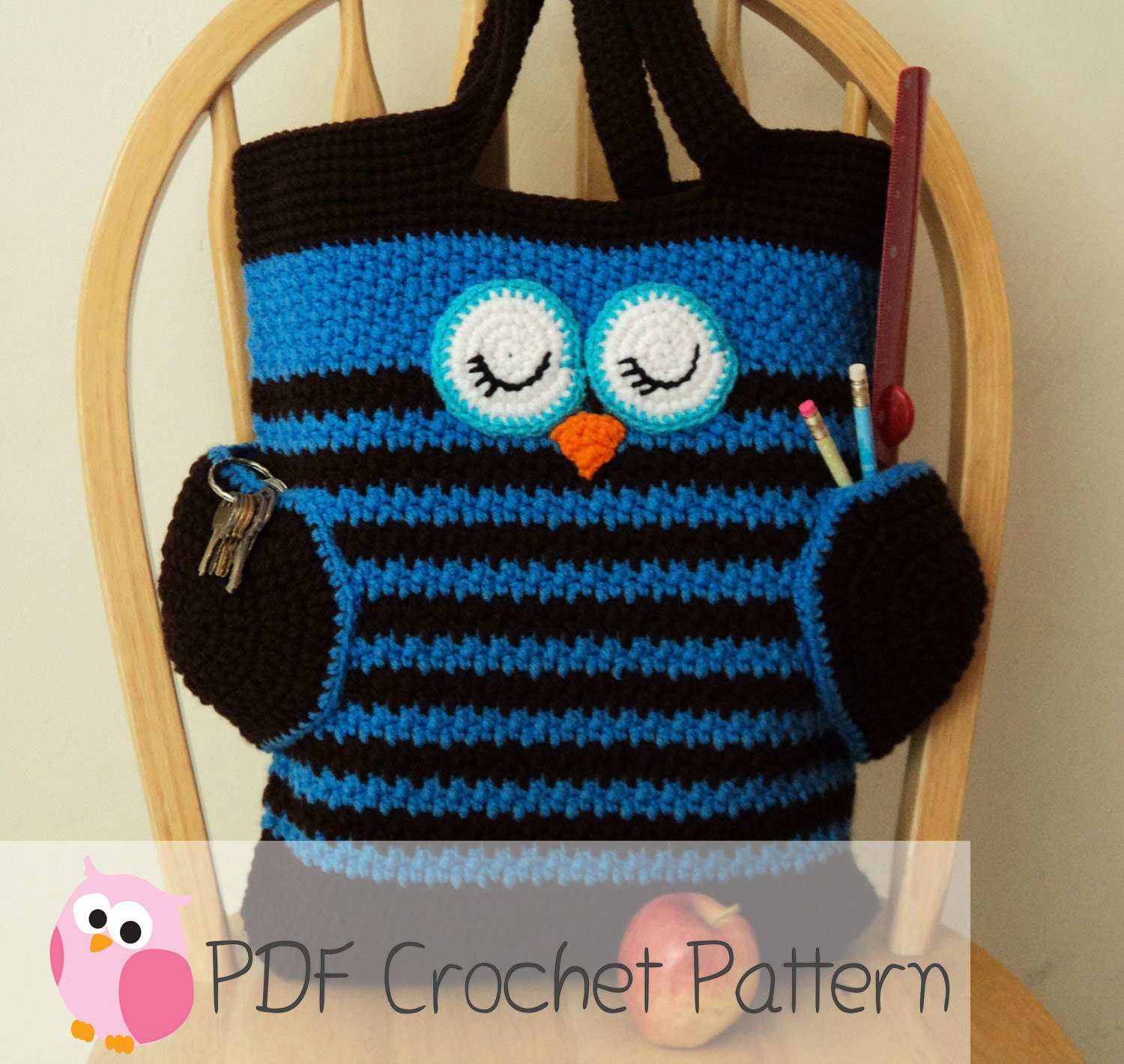 Owl tote bag crochet pattern digital download zoom bankloansurffo Image collections
