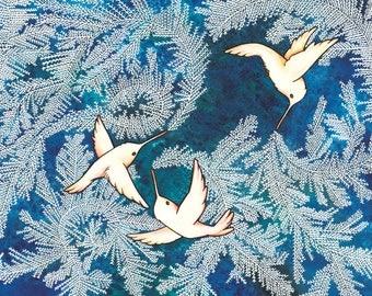 Frosting Birds Holiday Card Giclée Print