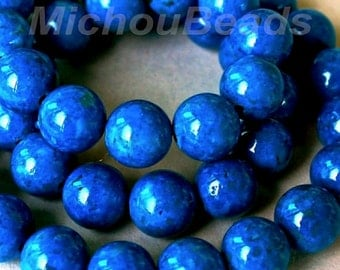 15 BLUE 6mm Natural RIVERSTONE - Round Opaque Natural River Stone Gemstone Wholesale Bead -  Instant Ship from USA  - 5288