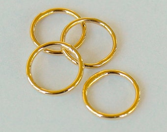 100 GOLD Closed 6mm Jumprings Connector - 18 gauge Round Gold Plated Brass Soldered Closed Jump Ring Links - Instant Ship from USA - 5484