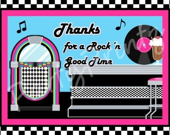 INSTANT DOWNLOAD - NIFTY 50's theme - Thank You Cards