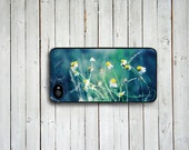 Iphone 4 Hard Plastic Case - Green and Blue iphone 4 case - flowers iphone 4 case