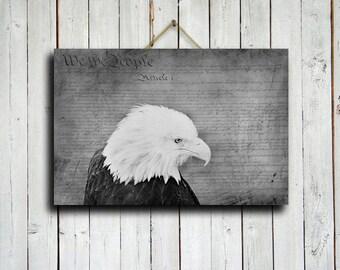 Bald Eagle - Bald Eagle photography - American Constitution art - Eagle and Constitution Art - Eagle decor - Patriotic Decor - Eagle canvas