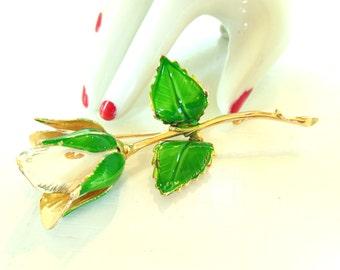 Vintage Enameled Brooch Rose Flower Cream Gold 60's (item 213)