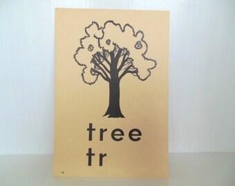 "Vintage Picture Flash Card Tree Large (8"" by 5 1/2"") Paper Ephemera 1950's (item 12)"