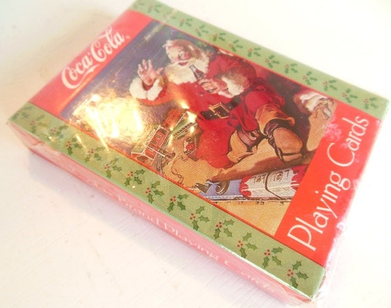 vintage unopened coca cola playing cards deck santa 1992 item. Black Bedroom Furniture Sets. Home Design Ideas