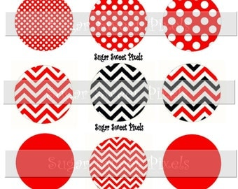 INSTANT DOWNLOAD Red Black  Polka Dot Chevron   Solid Blank  1 inch Circle Bottlecap Images 4x6 sheet