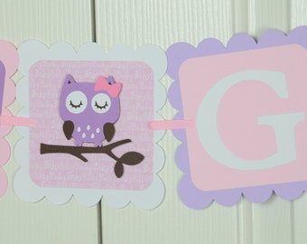 Owl Baby Banner, Baby sign, Baby shower sign, Light pink and Light Purple  Banner, Owl Theme