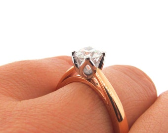 18ct Rose Gold and White Gold 0.54ct White Diamond 'Tulip Petal' Engagement Ring
