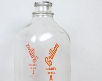 Vintage One Gallon Brillion Milk Jug with Metal Lid