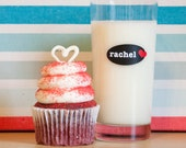 Custom Valentine Drink Labels - Personalized Drinkware Cling Labels with Name - Removable and Reusable