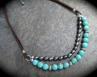 Turquoise and Peacock Pearl necklace with Leather Cord Boho Leather and Pearl necklace Double strand layering necklace