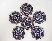 Handmade Decorative  Ceramic Tiles Rosette  Pattern set of 6 Purple