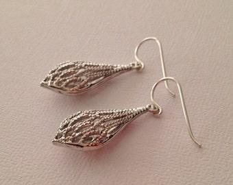 Silver Drop Diamond Cut Earrings with Sterling Silver Ear Wires