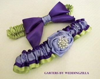 Purple, Lavender and Kiwi Wedding Garter Set /