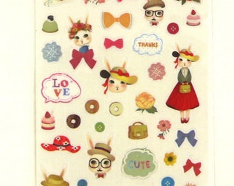 Translucent Deco Sticker Set - Miss Rabbit  - 02 - 4 Sheets