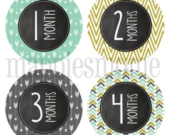 INSTANT DOWNLOAD - DIY Printable pdf- Baby Boy Monthly Baby Stickers - Carter Chalkboard