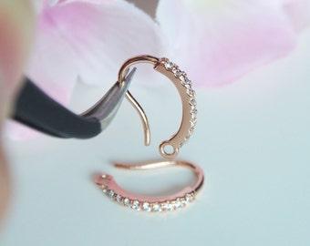 2 Pcs - Rose Gold Plated Cubic Zirconia Hook Earring Findings, Wedding Jewelry, Bridal, Earrings, Earwires - H555R