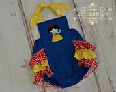 Girls Snow White inspired Romper - Snow White Sun Suit - Snow White Birthday Outfit - Snow White Romper