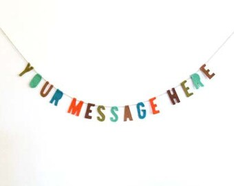 Custom felt banner party wall hanging, party garland, custom party banner, custom felt banner