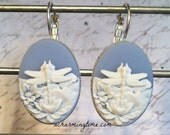 White Dragonfly Earrings on a Blue Colored Cameo with Lever Back Hooks
