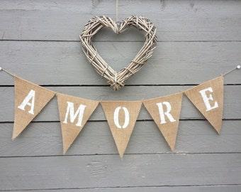 Amore burlap bunting banner