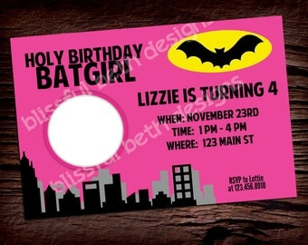 PERSONALIZED BATGIRL INVITATION Personalized Pink Batgirl Photo Invite Birthday Printable Invitation, Batgirl Invitation, Batgirl Birthday