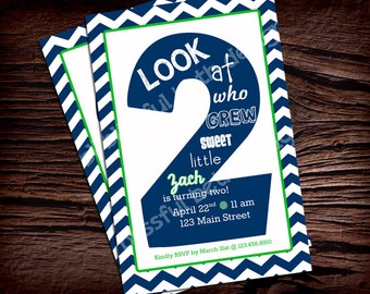 SECOND BIRTHDAY INVITATION Navy and Green Birthday Invitation, Printable Chevron Second Birthday Invitation, Second Birthday Invite