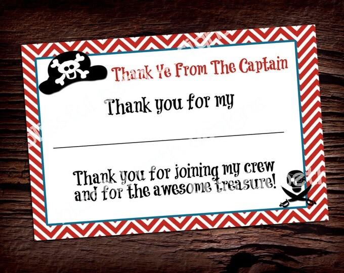 PIRATE THANK YOU Pirate Printable Thank You Notes, Instant Download, Instant Pirate Thank You Note, Thank You Note, Pirate Thank You
