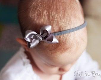 Silver Baby girl Bow - Flower Girl Headband - Silver Boutique Bow Handmade Headband - Infant to Adult Headband