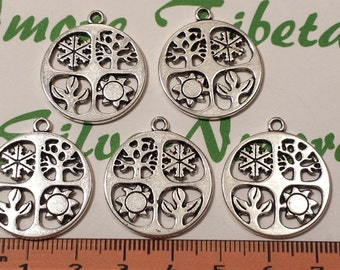 6 pcs per pack 25mm Four Season Coin Charm in Antique Silver Lead free Pewter.